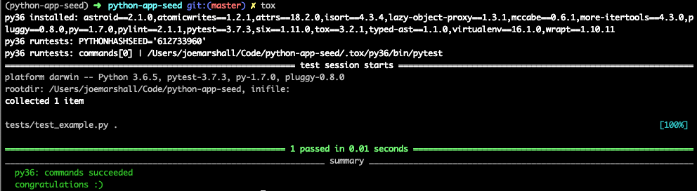 Building a Python 3 6 Seed App with Docker, Tox, and Pylint